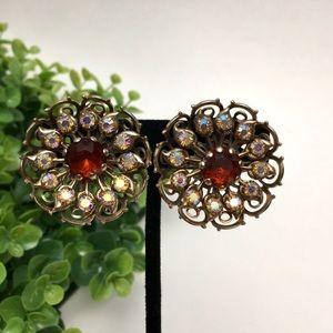 Vintage Iridescent Crystal Filigree Earrings